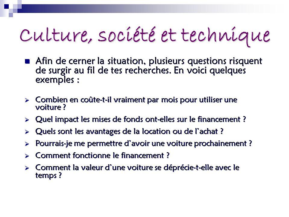 Culture, société et technique