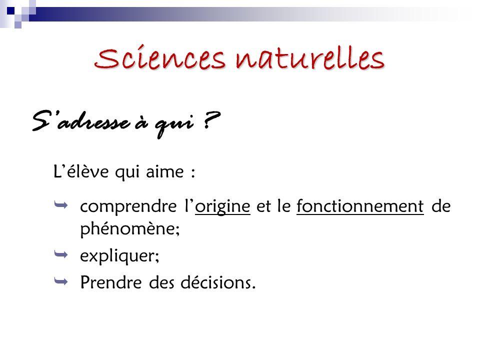 Sciences naturelles S'adresse à qui L'élève qui aime :