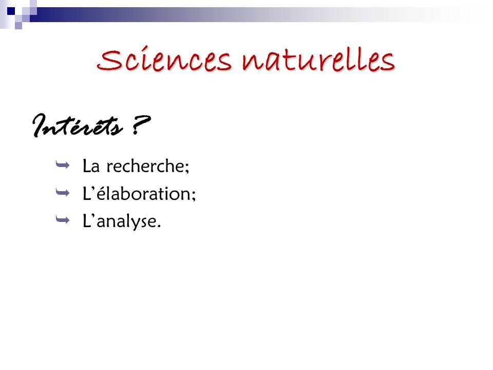 Sciences naturelles Intérêts La recherche; L'élaboration; L'analyse.
