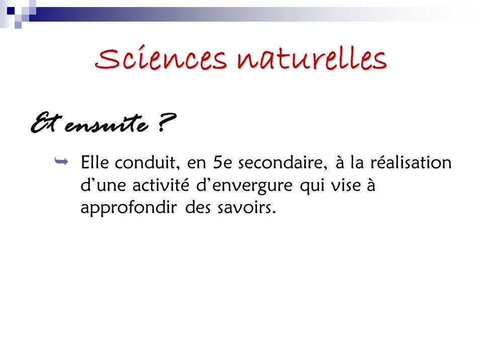 Sciences naturelles Et ensuite