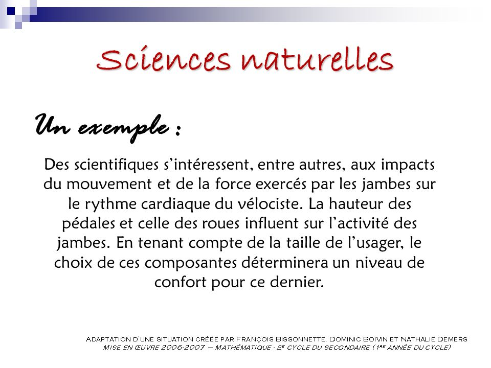 Sciences naturelles Un exemple :