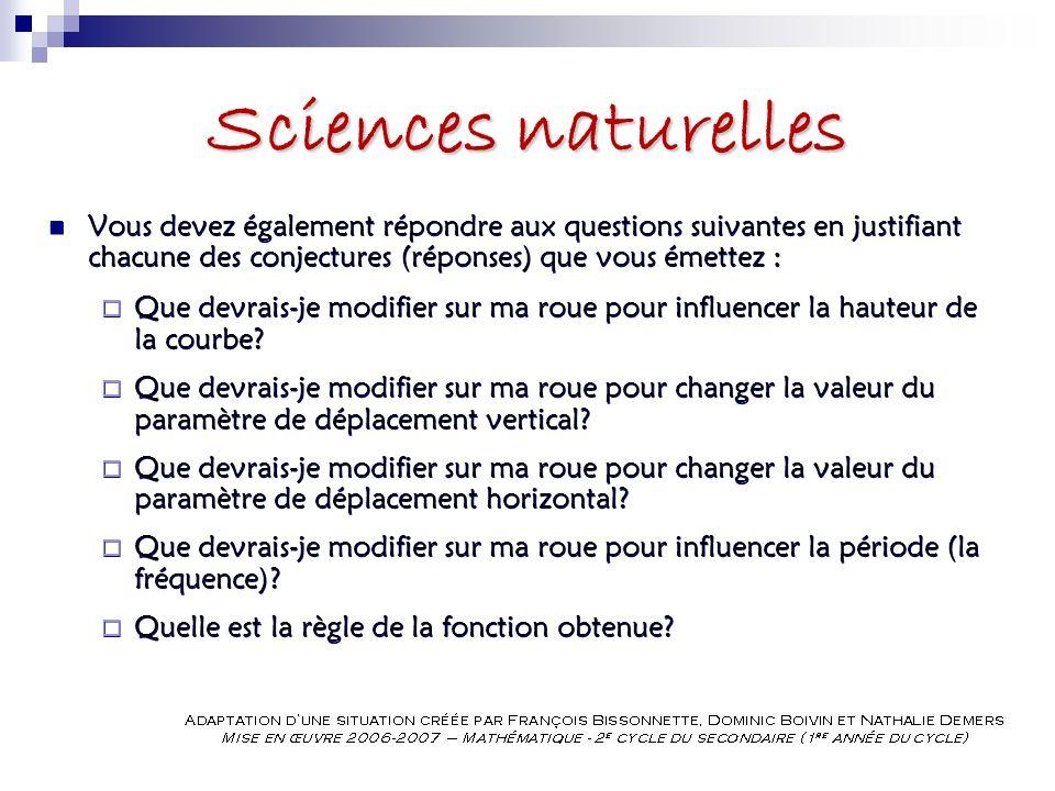 Sciences naturelles Vous devez également répondre aux questions suivantes en justifiant chacune des conjectures (réponses) que vous émettez :