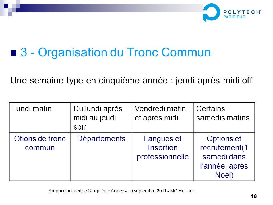 3 - Organisation du Tronc Commun