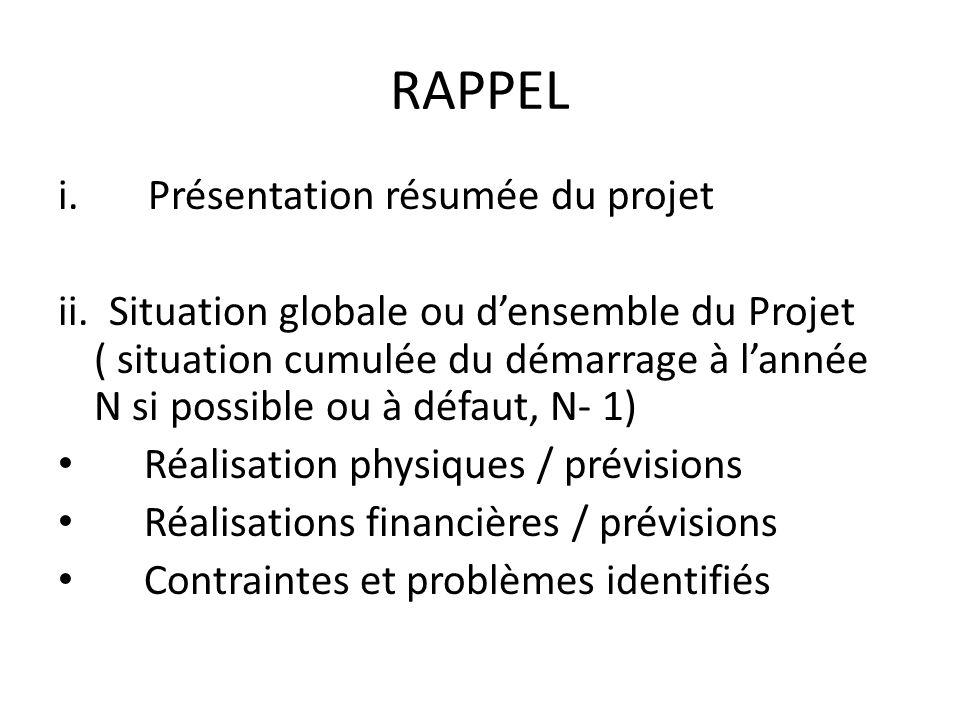 RAPPEL Présentation résumée du projet