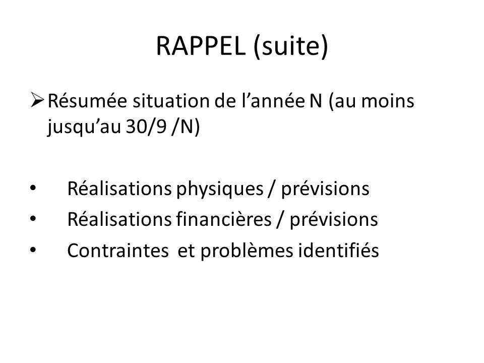 RAPPEL (suite) Résumée situation de l'année N (au moins jusqu'au 30/9 /N) Réalisations physiques / prévisions.