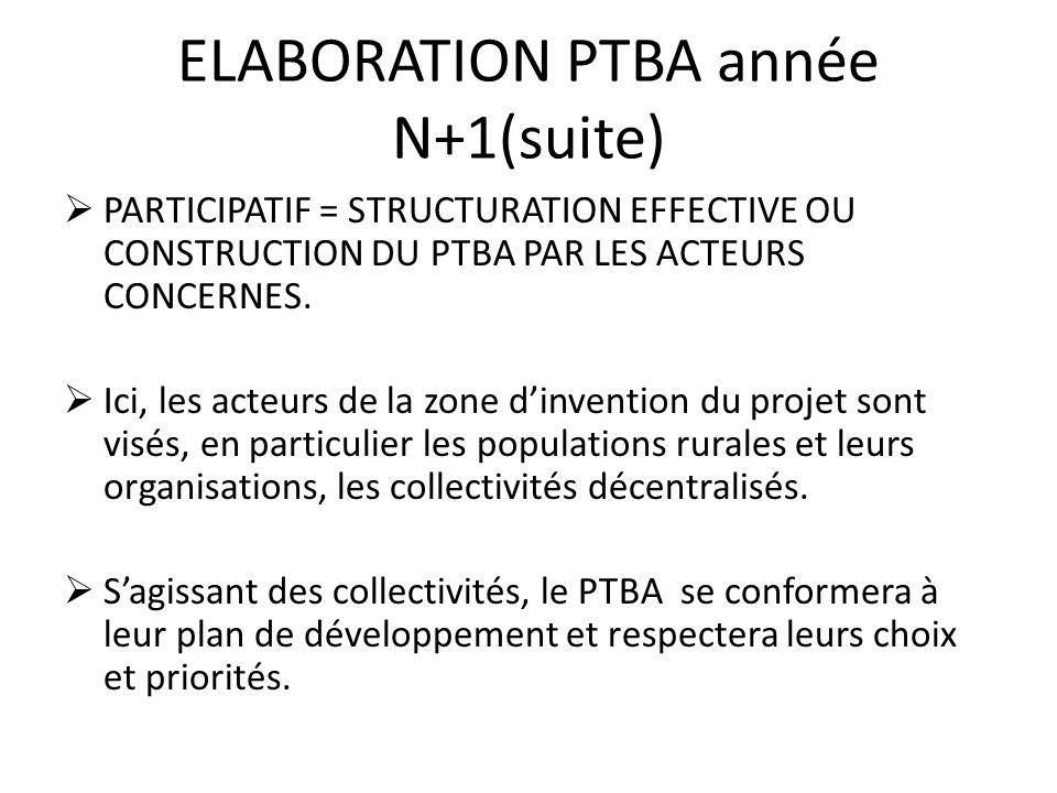 ELABORATION PTBA année N+1(suite)
