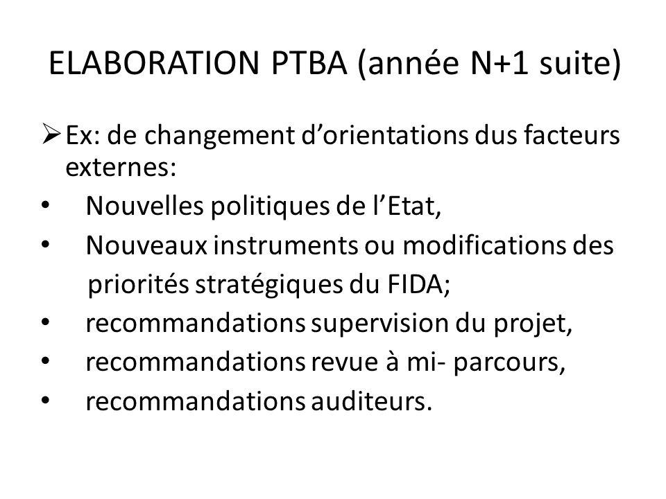 ELABORATION PTBA (année N+1 suite)