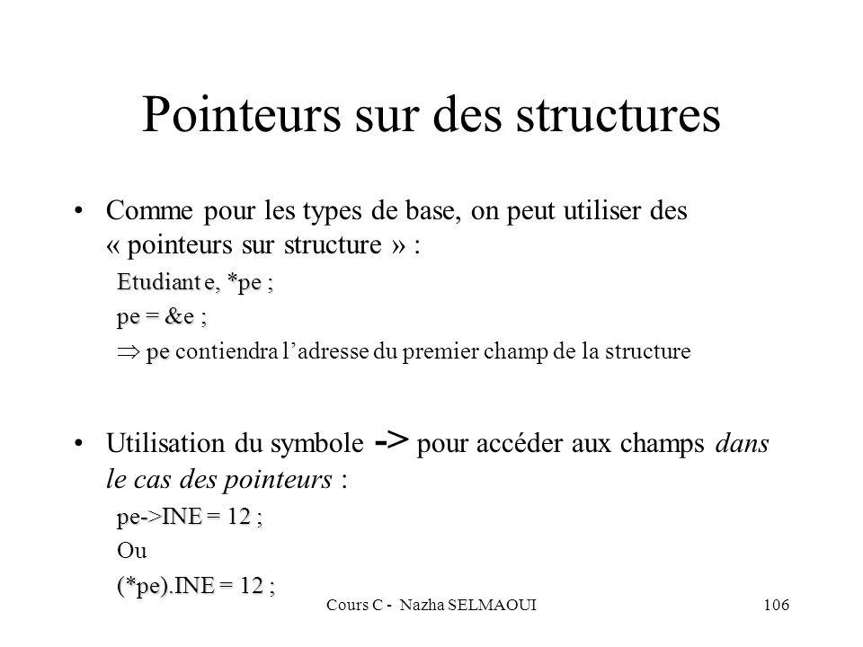 Pointeurs sur des structures