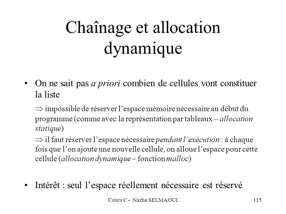 Chaînage et allocation dynamique