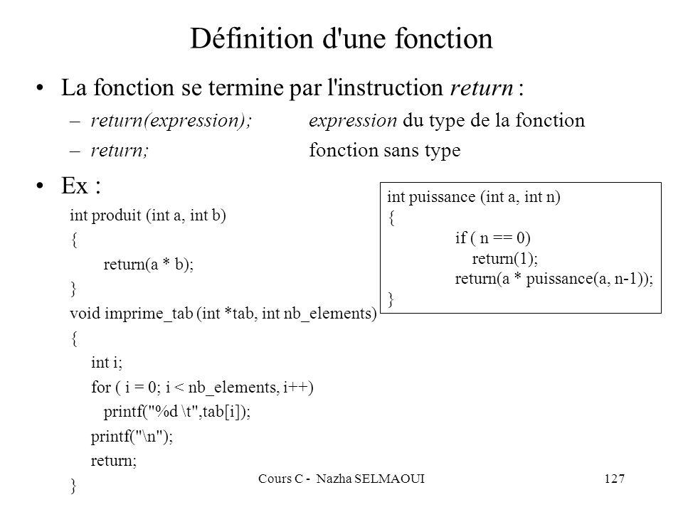 Définition d une fonction