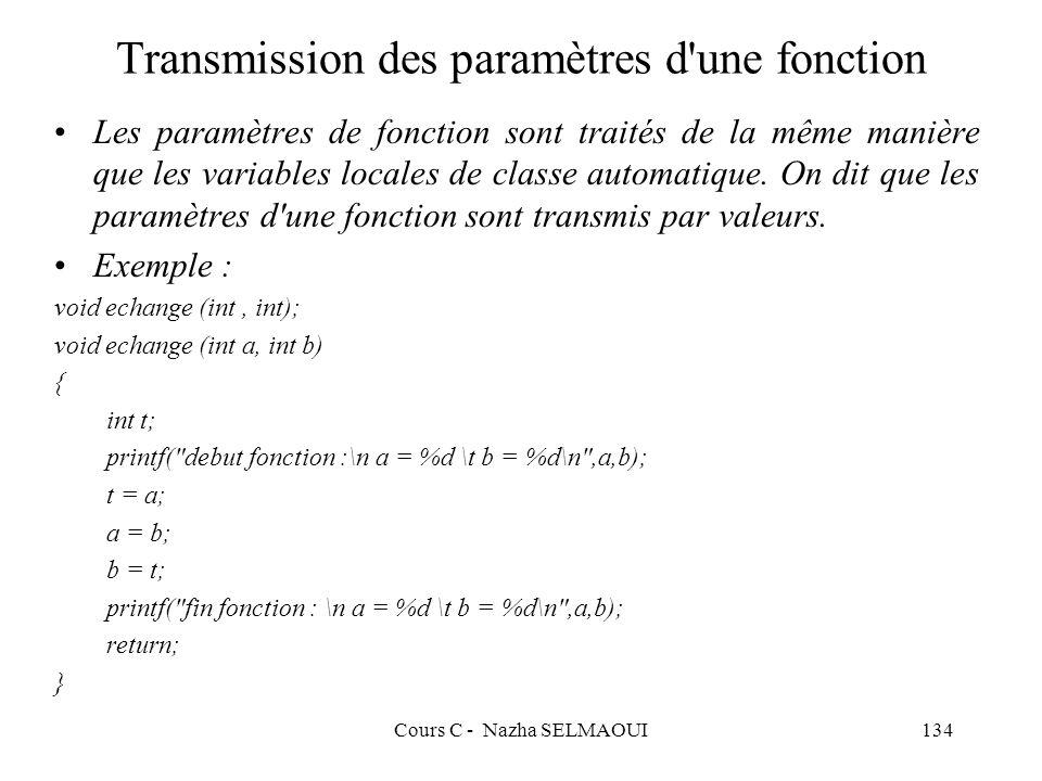 Transmission des paramètres d une fonction