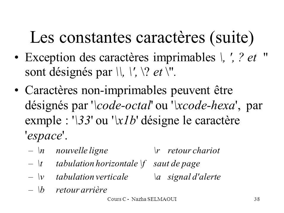 Les constantes caractères (suite)