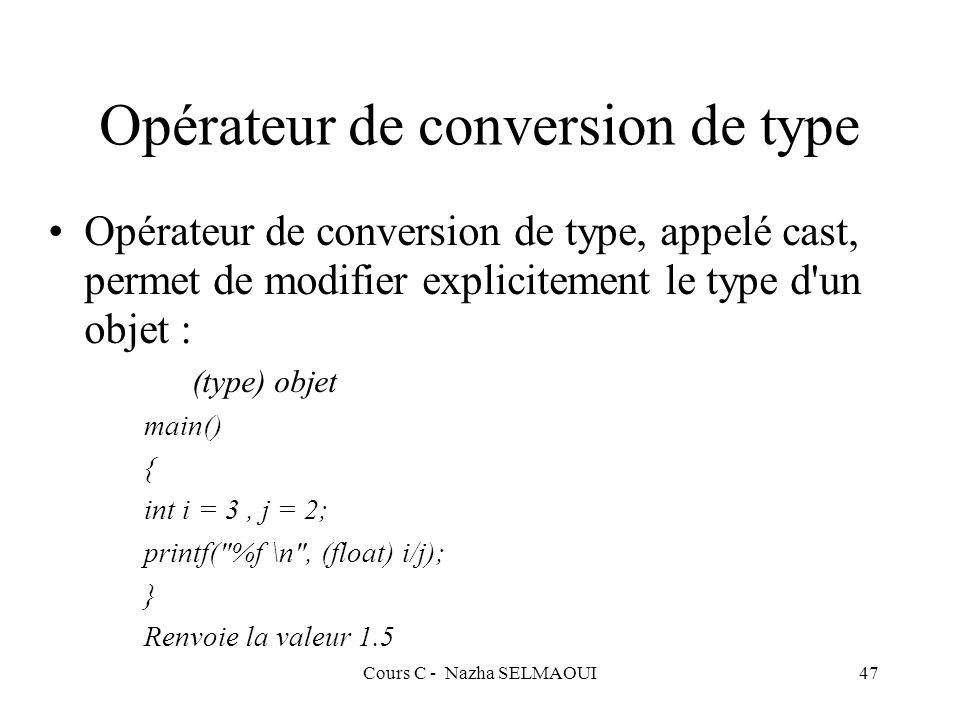 Opérateur de conversion de type