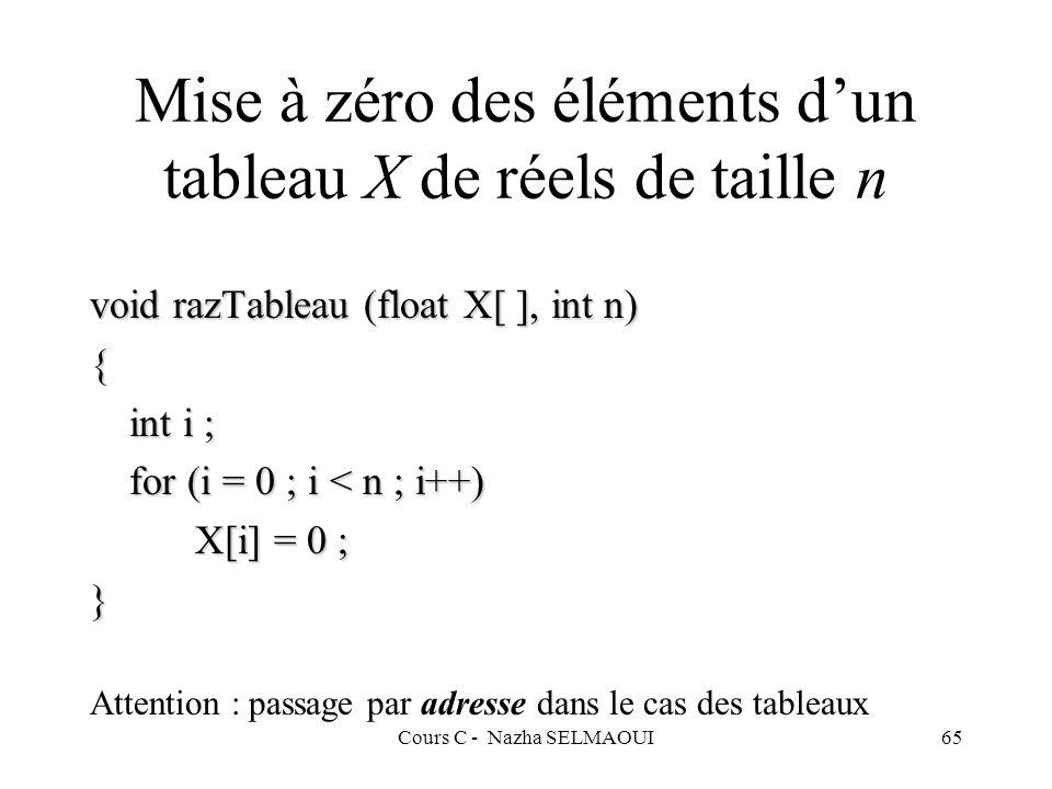 Mise à zéro des éléments d'un tableau X de réels de taille n