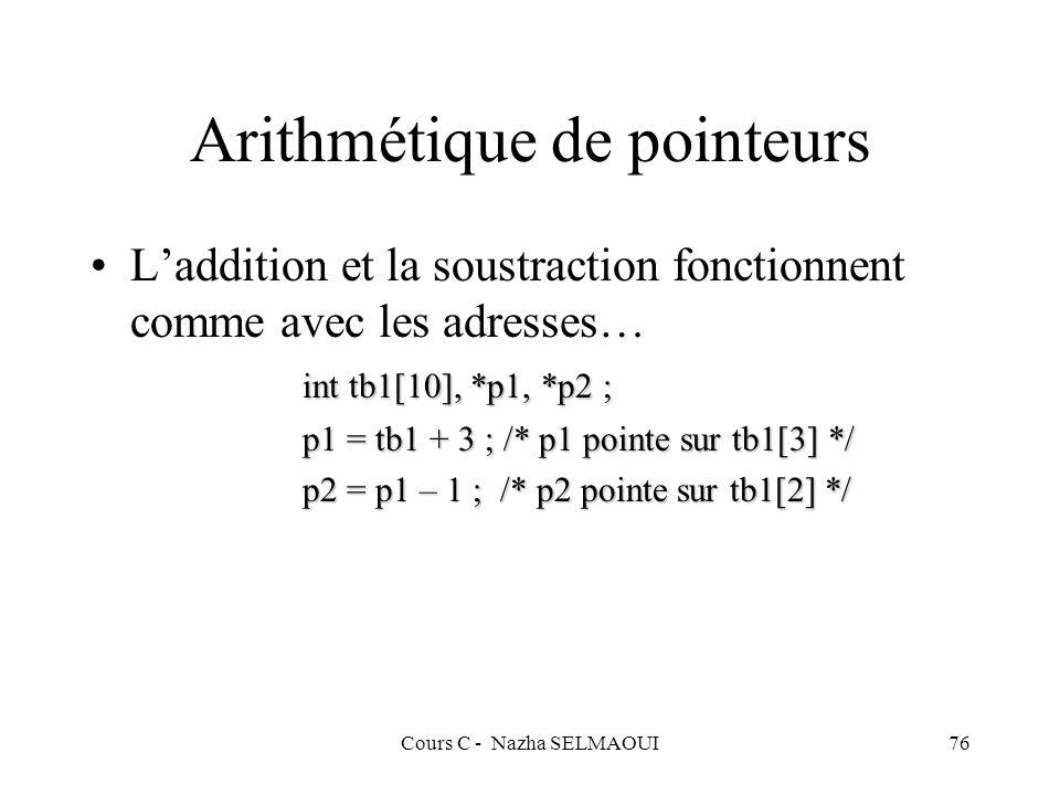 Arithmétique de pointeurs