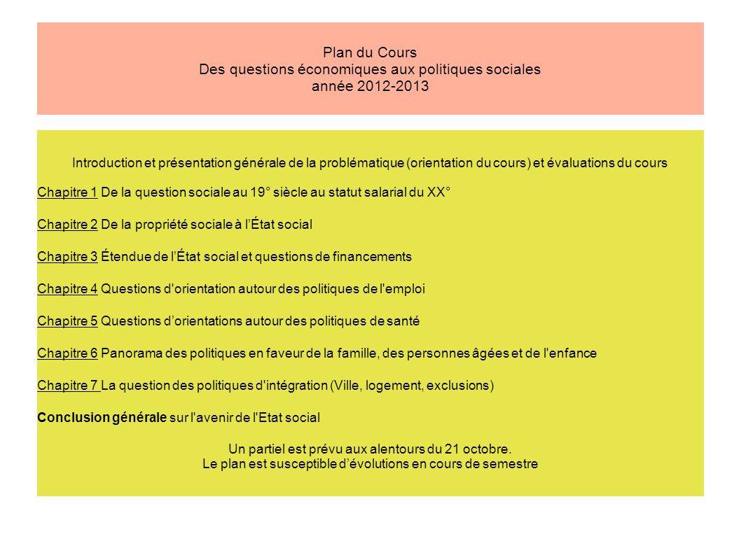 Plan du Cours Des questions économiques aux politiques sociales année 2012-2013