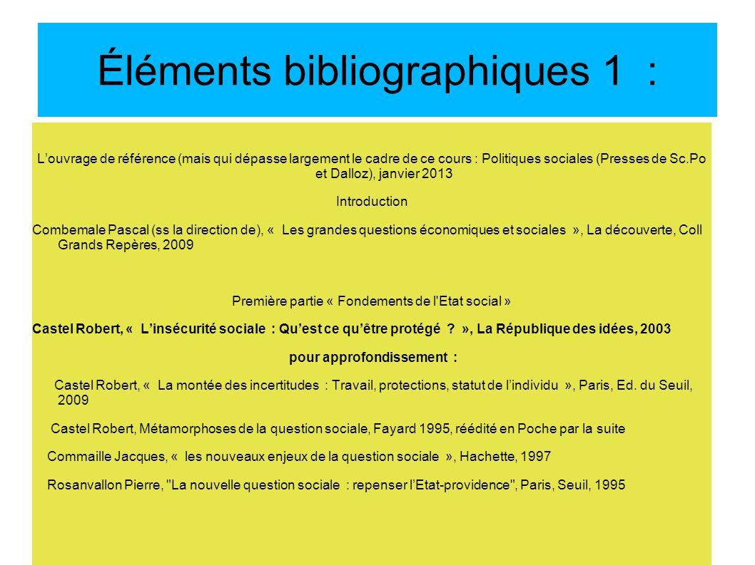 Éléments bibliographiques 1 :