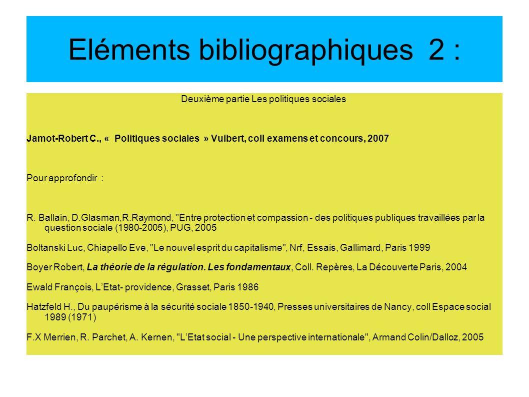 Eléments bibliographiques 2 :
