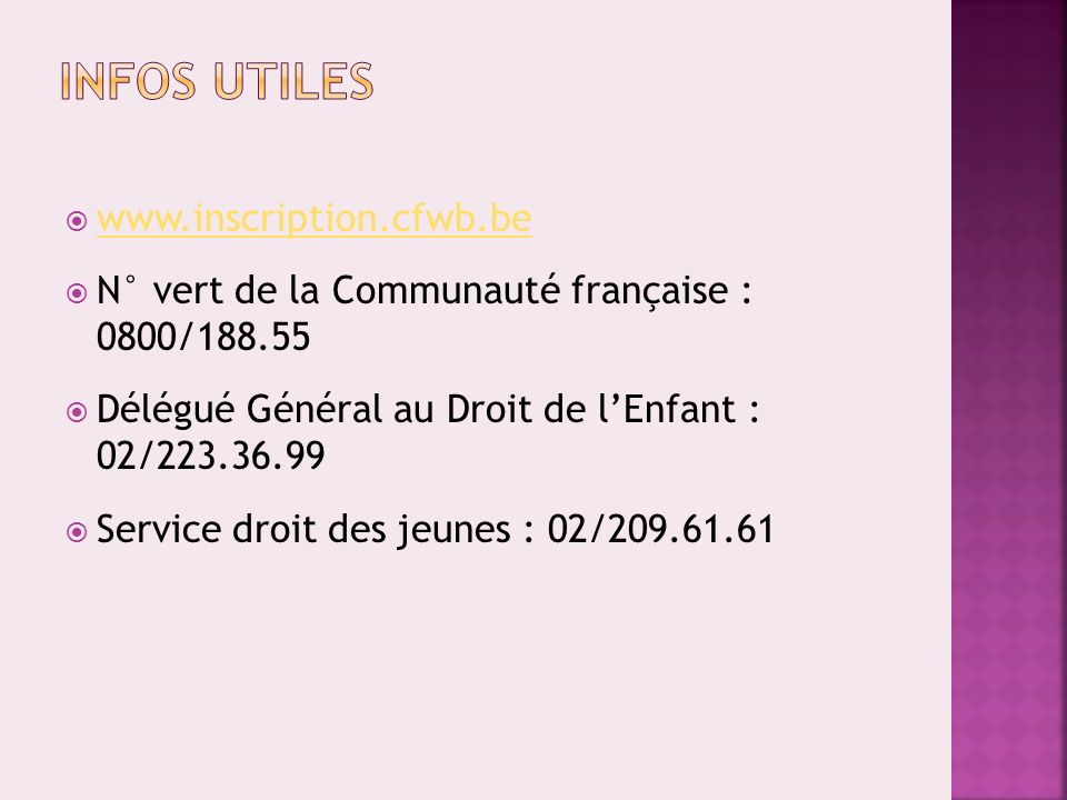 Infos utiles www.inscription.cfwb.be