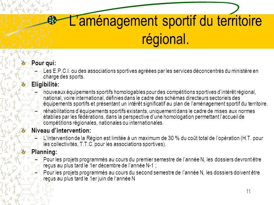 L'aménagement sportif du territoire régional.
