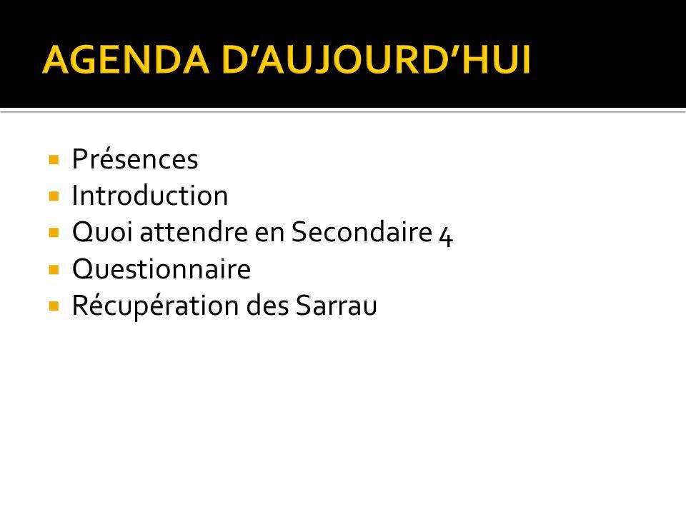 AGENDA D'AUJOURD'HUI Présences Introduction