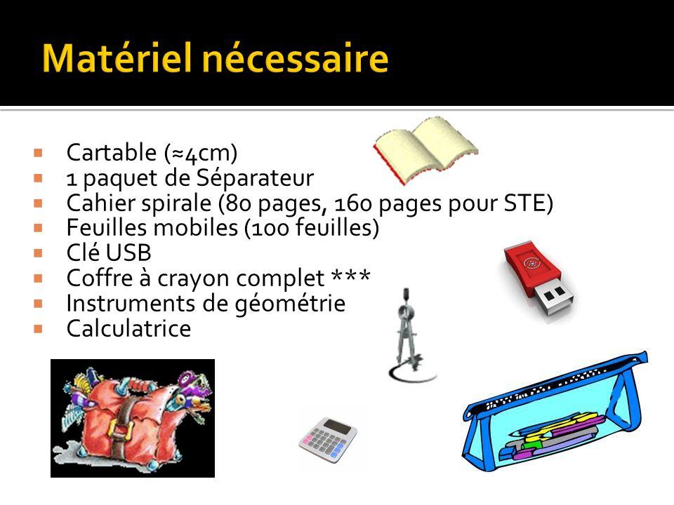 Matériel nécessaire Cartable (≈4cm) 1 paquet de Séparateur