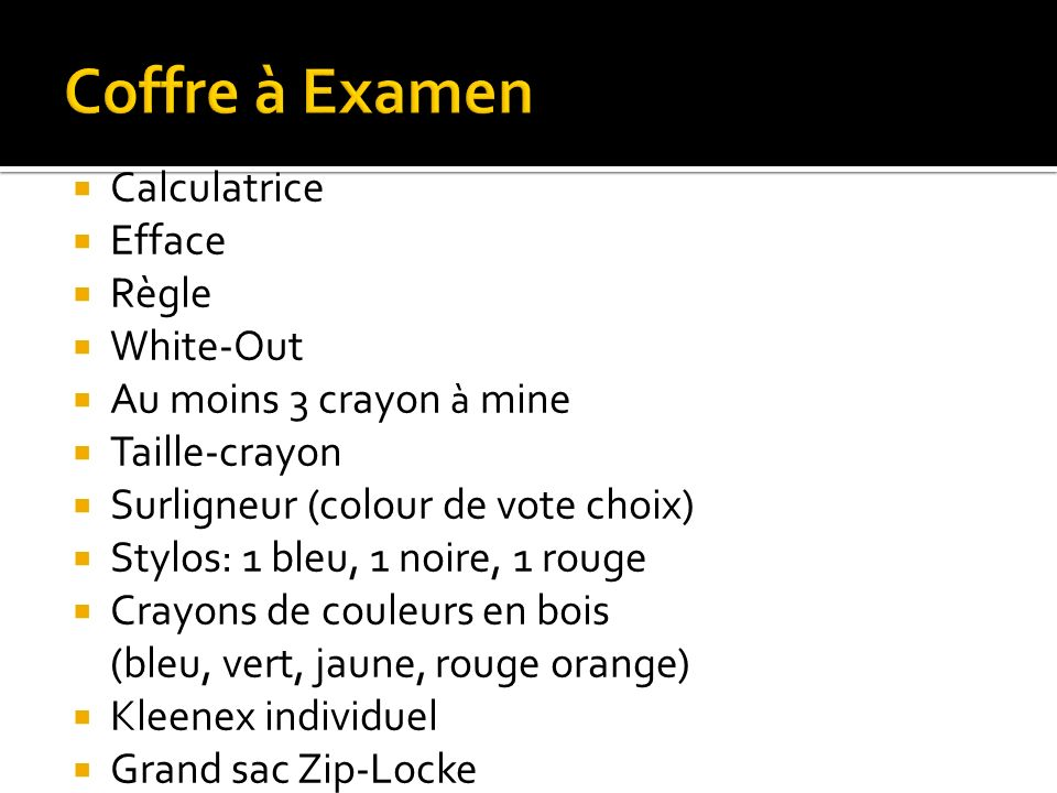 Coffre à Examen Calculatrice Efface Règle White-Out