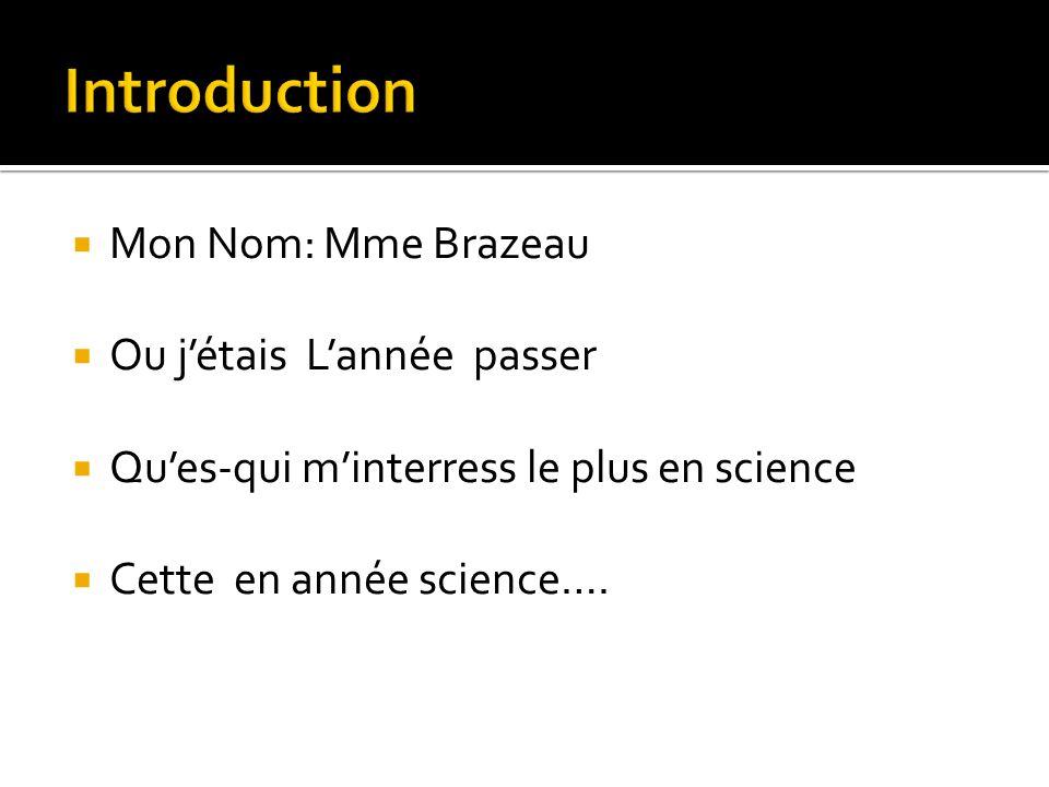 Introduction Mon Nom: Mme Brazeau Ou j'étais L'année passer