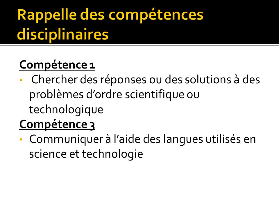 Rappelle des compétences disciplinaires
