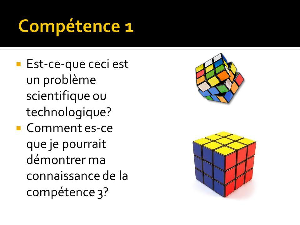 Compétence 1 Est-ce-que ceci est un problème scientifique ou technologique