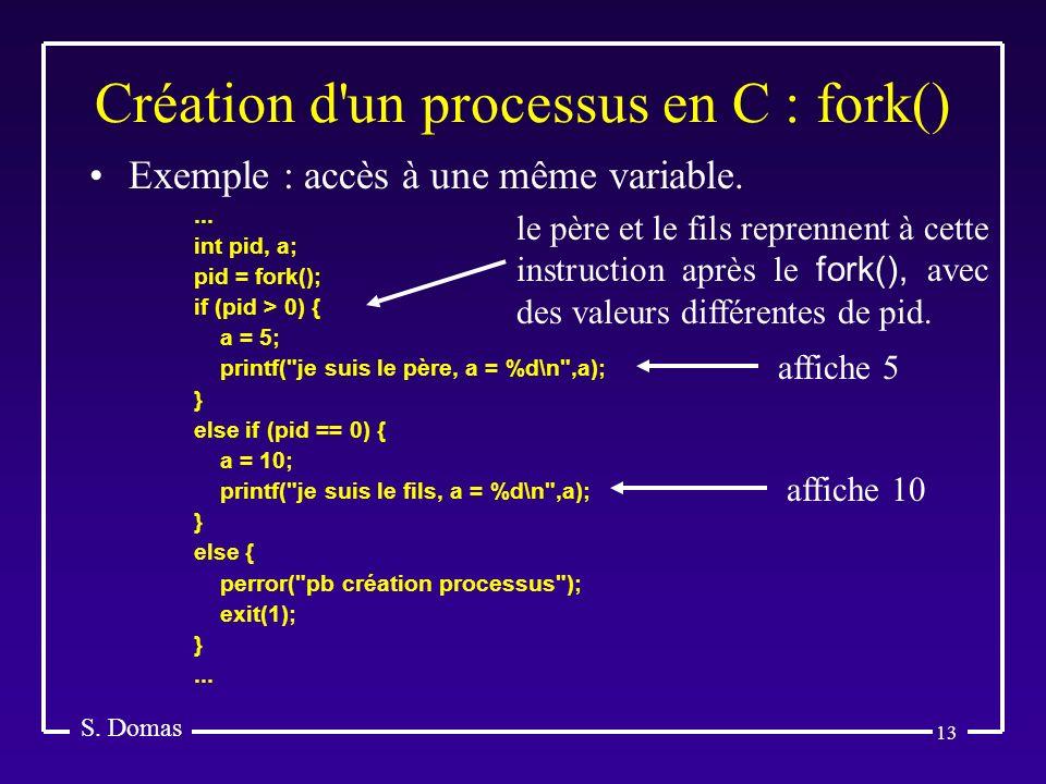 Création d un processus en C : fork()