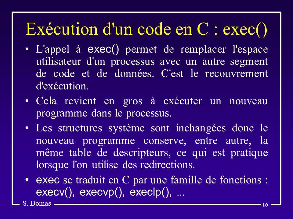 Exécution d un code en C : exec()