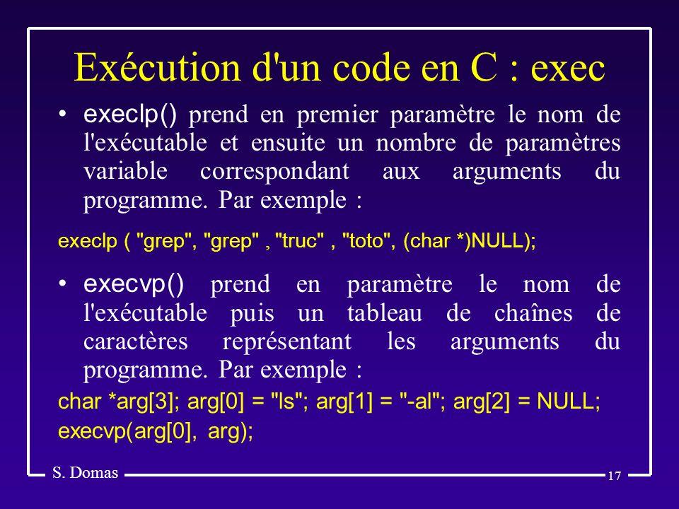 Exécution d un code en C : exec