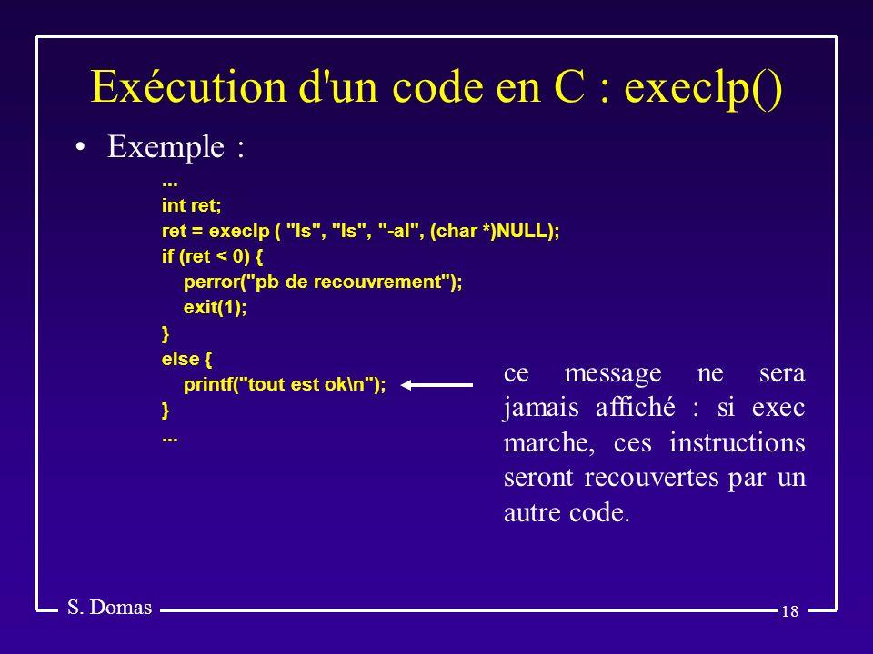 Exécution d un code en C : execlp()