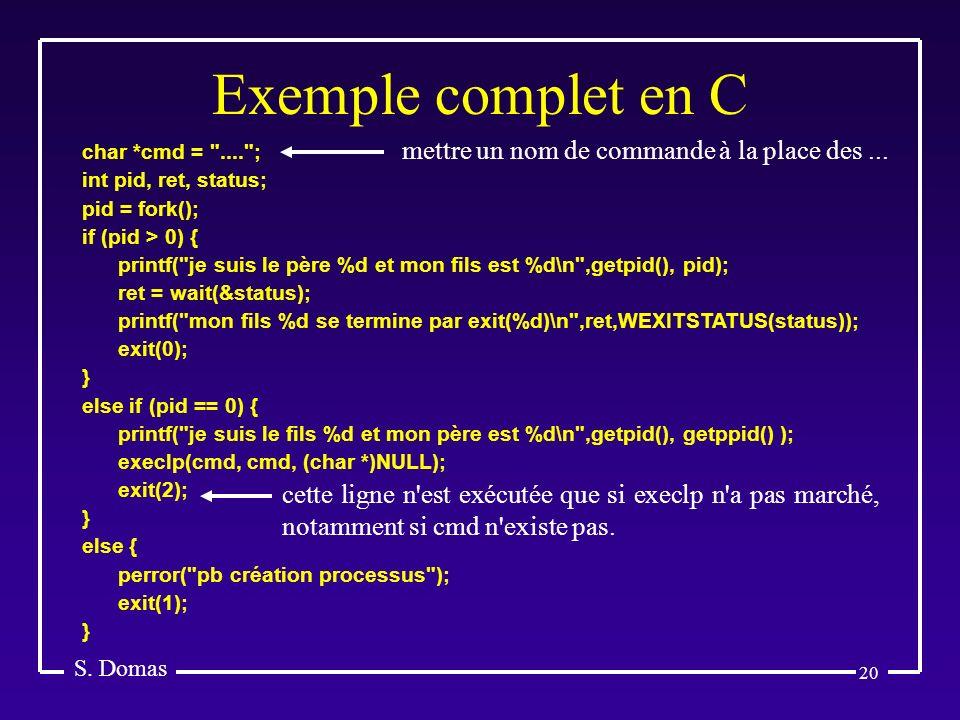 Exemple complet en C mettre un nom de commande à la place des ...
