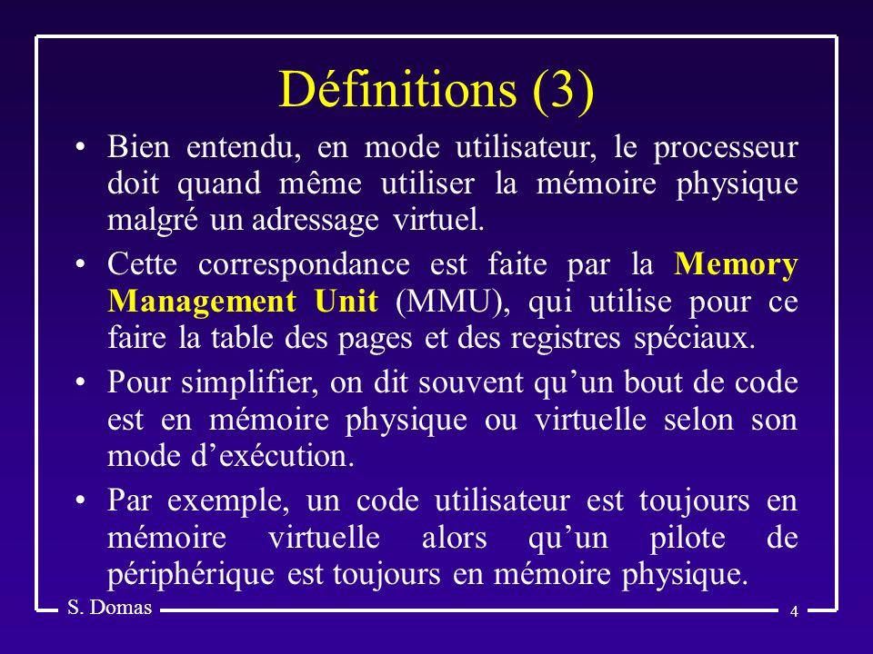 S. Domas Définitions (3) Bien entendu, en mode utilisateur, le processeur doit quand même utiliser la mémoire physique malgré un adressage virtuel.