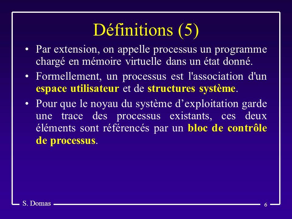 S. Domas Définitions (5) Par extension, on appelle processus un programme chargé en mémoire virtuelle dans un état donné.