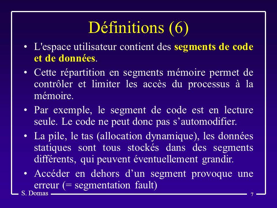 Définitions (6) S. Domas. L espace utilisateur contient des segments de code et de données.