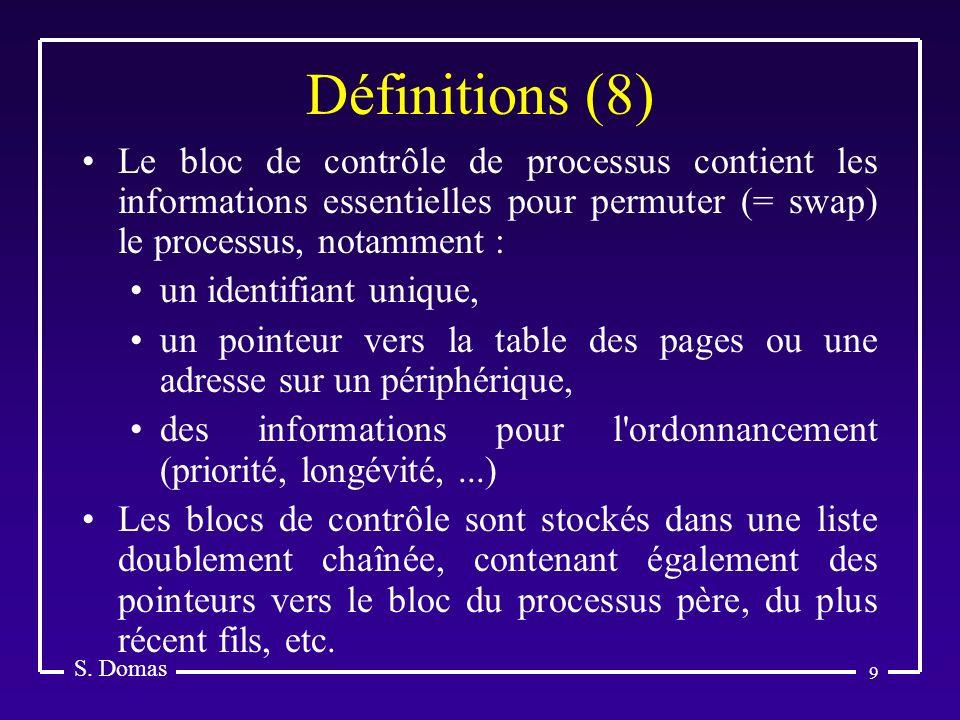 Définitions (8) S. Domas. Le bloc de contrôle de processus contient les informations essentielles pour permuter (= swap) le processus, notamment :