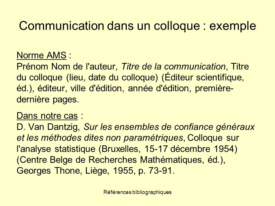 Communication dans un colloque : exemple