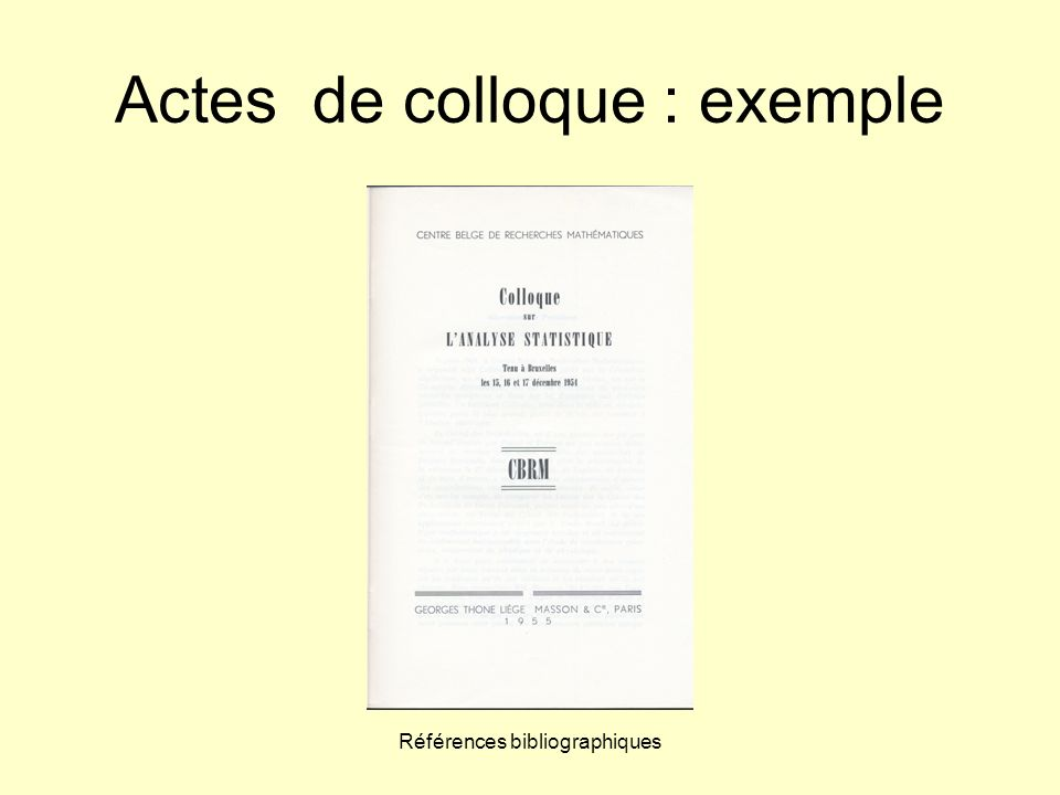 Actes de colloque : exemple