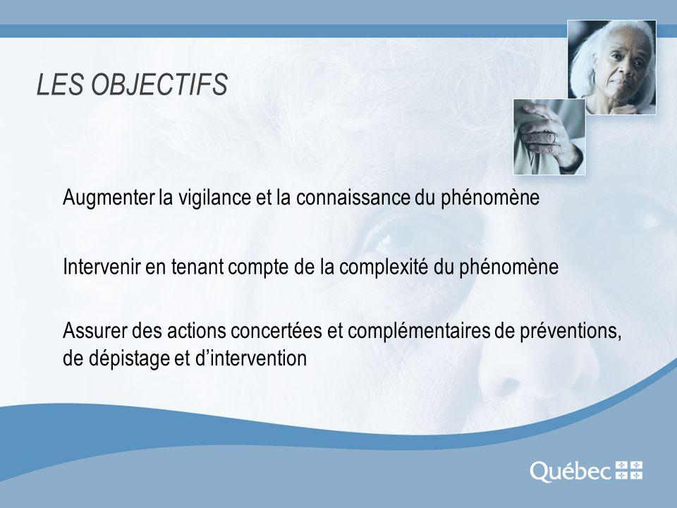 LES OBJECTIFS Augmenter la vigilance et la connaissance du phénomène