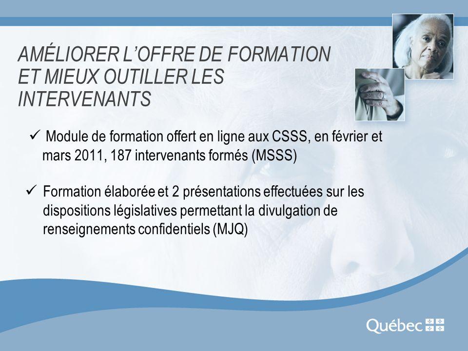 AMÉLIORER L'OFFRE DE FORMATION ET MIEUX OUTILLER LES INTERVENANTS