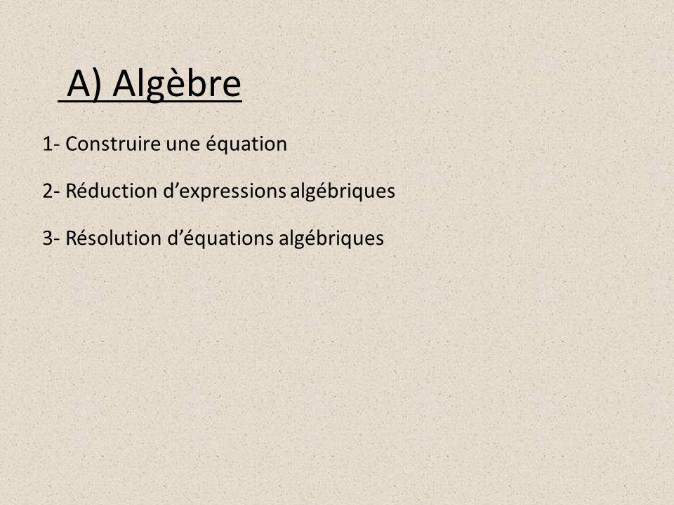 A) Algèbre 1- Construire une équation