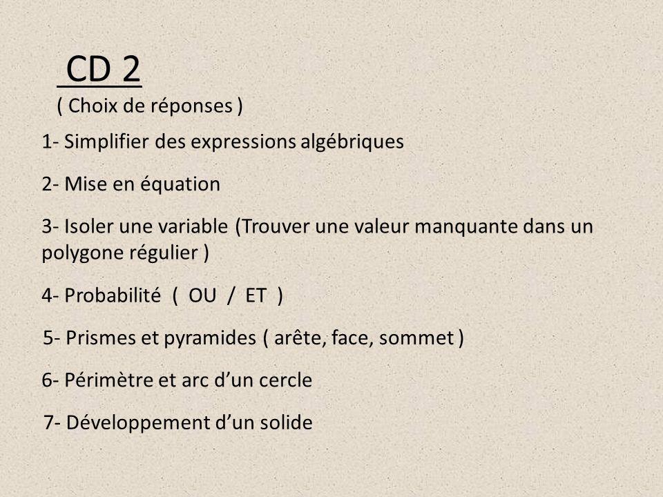 CD 2 ( Choix de réponses ) 1- Simplifier des expressions algébriques