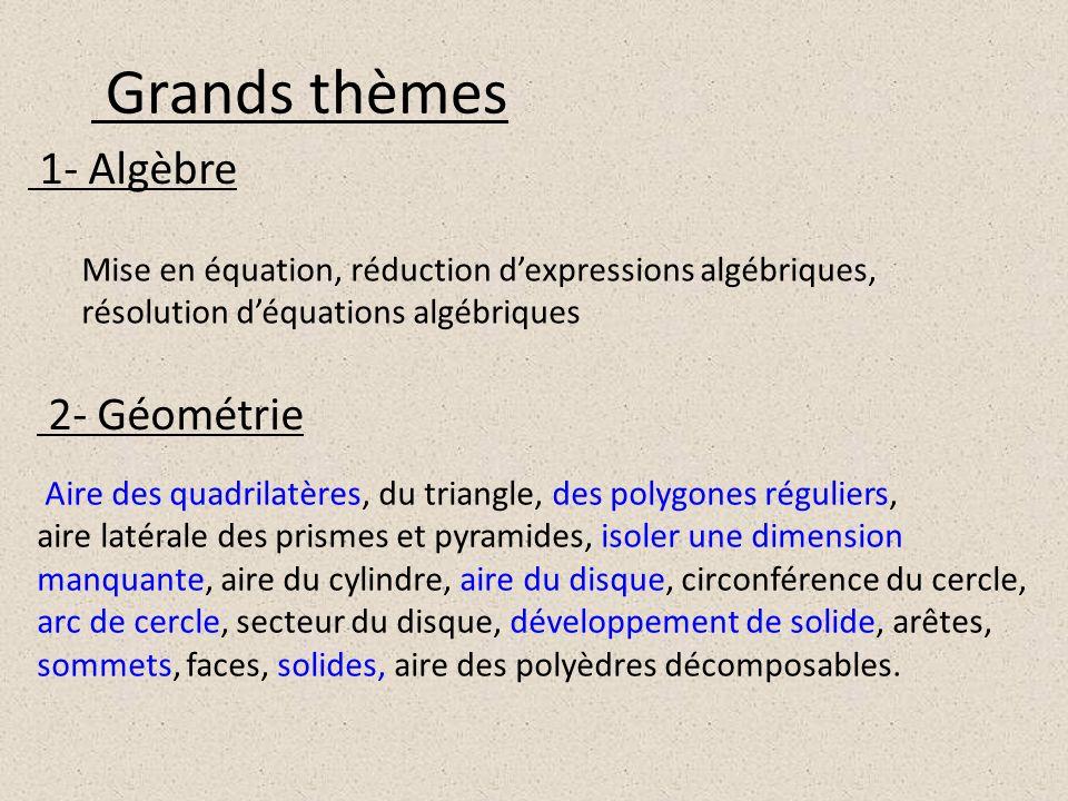 Grands thèmes 1- Algèbre 2- Géométrie