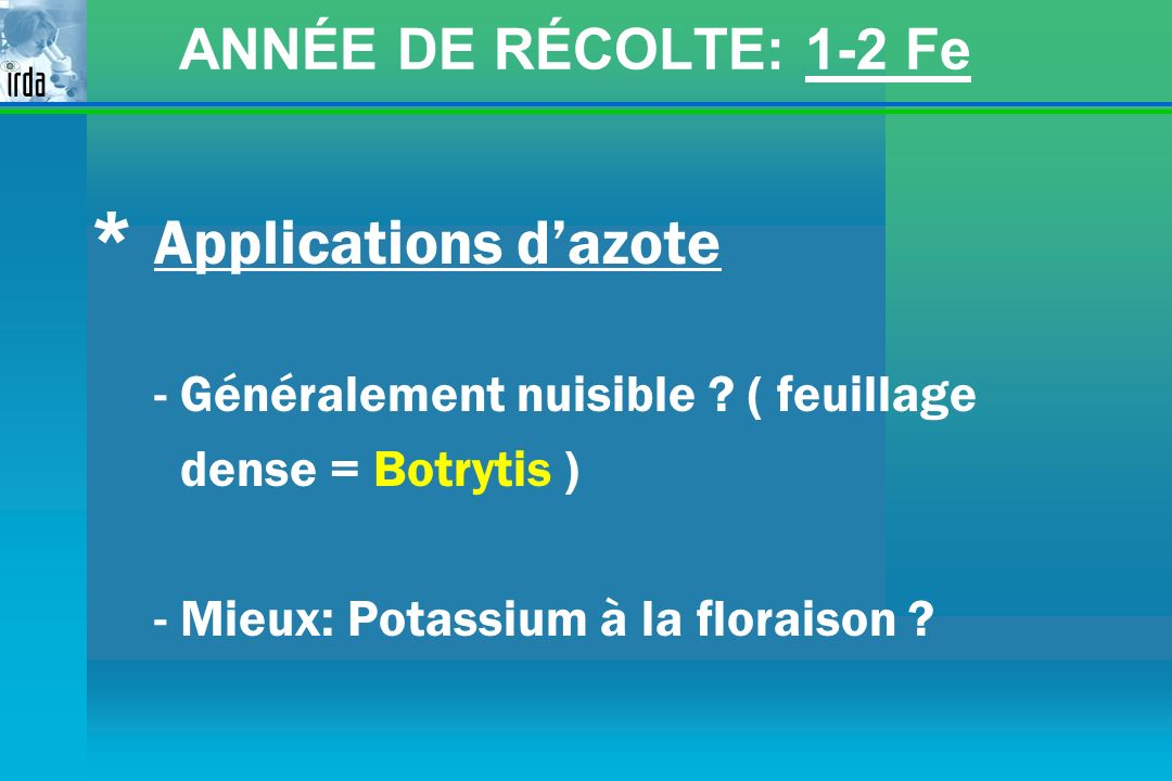 * Applications d'azote