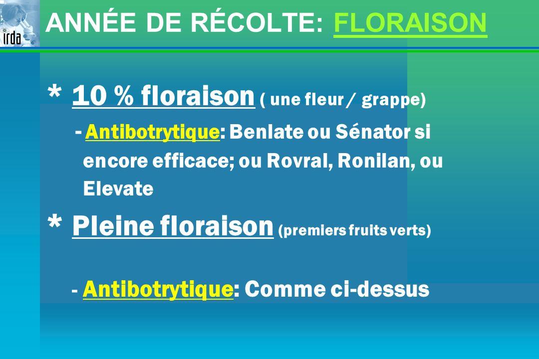 ANNÉE DE RÉCOLTE: FLORAISON