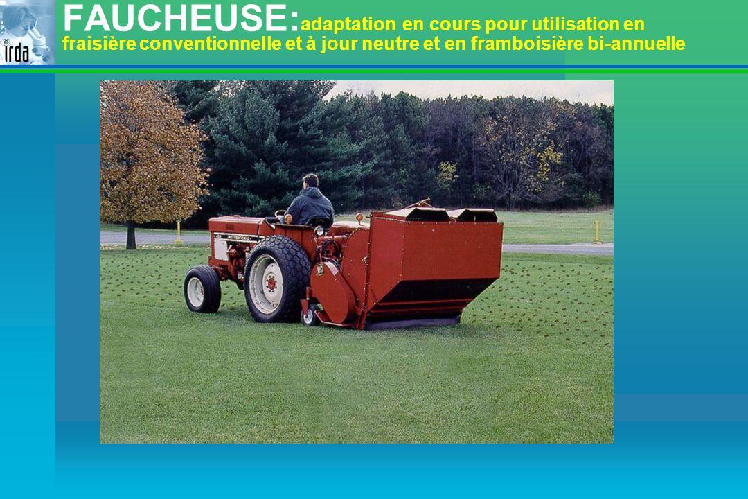 FAUCHEUSE:adaptation en cours pour utilisation en fraisière conventionnelle et à jour neutre et en framboisière bi-annuelle
