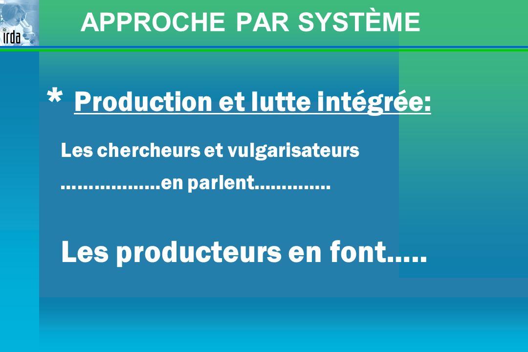 * Production et lutte intégrée: